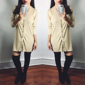 Minimalist Beige Long Sleeve Shirt Dress